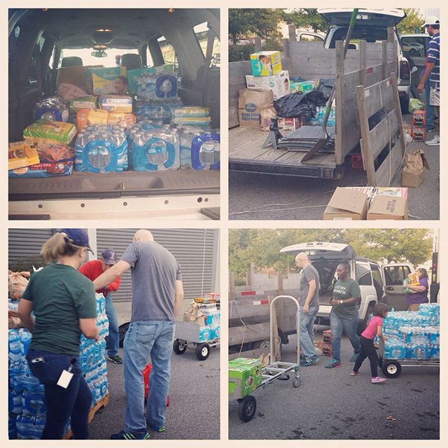 Want to know how awesome Nashville is? In two days, from just a couple emails and Facebook posts we collected: 70 cases of water, 30 bags/boxes of canned foods, 38 soft packs of diapers, 6 boxes of diapers, 8 large packs of wipes, 10 bags of cleaning supplies, 10 blankets, several sets of new bedding, new clothing, several tools, 7 Sump Pumps, $1000+ in financial donations and much much more. Thank you for participating in #FloodSCwithLove  A special shout out to St. John's Lutheran Church, Hodgson Douglas, Dale and Associates, Hermitage Hills Baptist Church, and ALL the folks at Hip Donelson, Hip Hermitage, and Hip Mt. Juliet. #Nashville #helpyourneighbor #communitylove #wearenashville #neverforget #payitforward #spiritofnashville